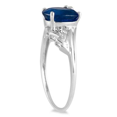 2.25 Carat Oval Sapphire and Diamond Leaf Ring in 10K White Gold