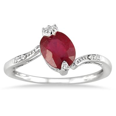1.50 Carat Oval Ruby and Diamond Ring in 10K White Gold