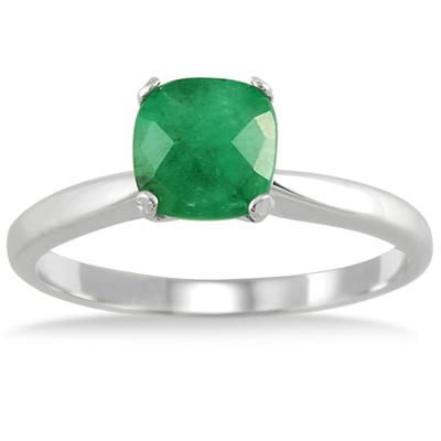 1.00 Carat Cushion Cut Emerald Solitaire Ring in .925 Sterling Silver