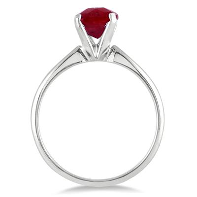 1.00 Carat Cushion Cut Ruby Solitaire Ring in .925 Sterling Silver
