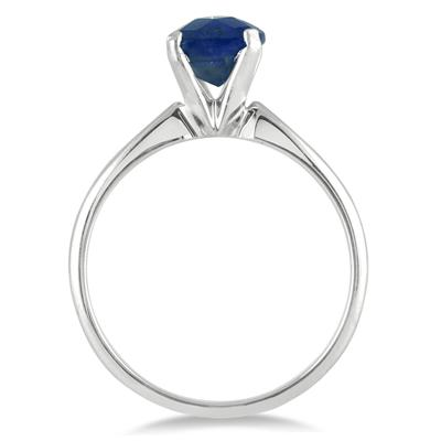 1.00 Carat Cushion Cut Sapphie Solitaire Ring in .925 Sterling Silver