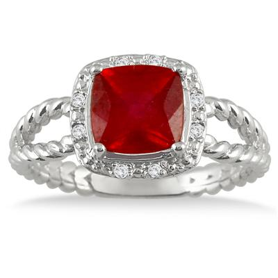 2.10 Carat Cushion Cut Ruby and Diamond Ring in .925 Sterling Silver