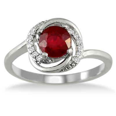 1.00 Carat Ruby and Diamond Ring in .925 Sterling Silver