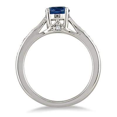 1.00 Carat Sapphire and Diamond Ring in .925 Sterling Silver