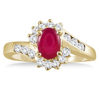 1 Carat Ruby and Diamond Flower Twist Ring in 14K Yellow Gold