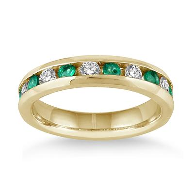 3/4 Carat Emerald and Diamond Band in 14k Yellow Gold