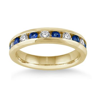 3/4 Carat Sapphire and Diamond Band in 14k Yellow Gold