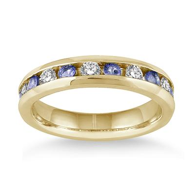 3/4 Carat Tanzanite and Diamond Band in 14k Yellow Gold