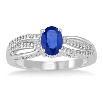 7x5mm Created Sapphire and Diamond Ring in .925 Sterling Silver