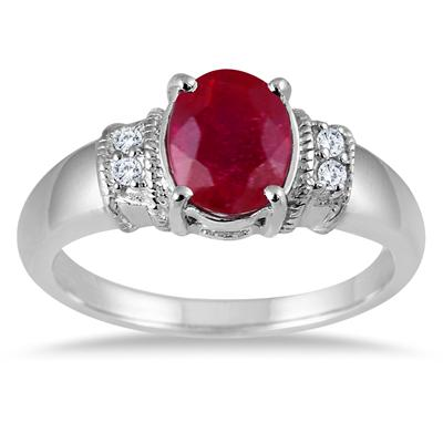 1.50 Carat Oval Ruby and White Topaz Ring in .925 Sterling Silver