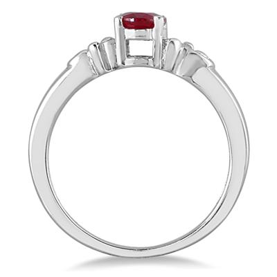 1.00 Carat Oval Ruby Antique Ring in .925 Sterling Silver