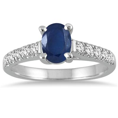 1 Carat Oval Sapphire and Diamond Ring in 14K White Gold