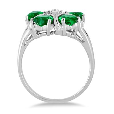 5MM Created Heart Emerald and Diamond Ring in .925 Sterling Silver