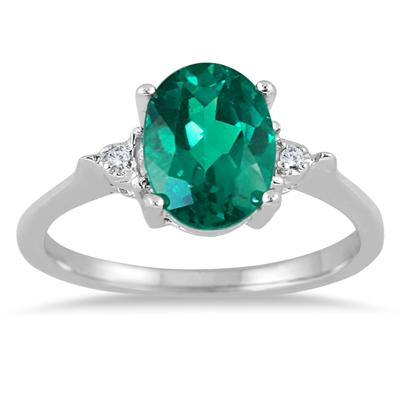 9x7 Created Emerald and Diamond Ring in .925 Sterling Silver