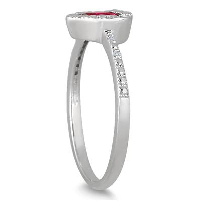1.00 Carat Created Ruby and Diamond Ring in .925 Sterling Silver