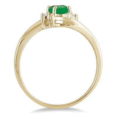 Emerald Gemstone and Diamond Wave Ring 14k Yellow Gold