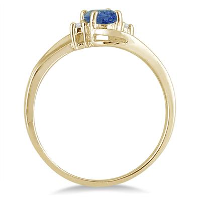 Sapphire Gemstone and Diamond Wave Ring 14k Yellow Gold