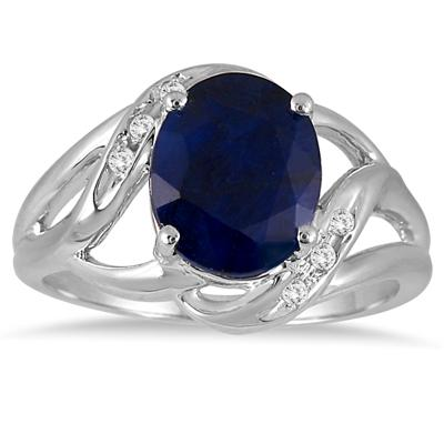 3.50 Carat Oval Sapphire and Diamond Ring in .925 Sterling Silver