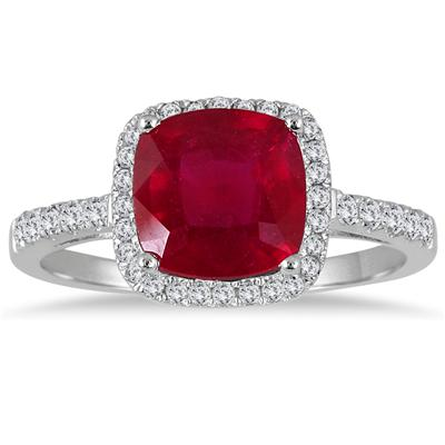 3 Carat Cushion Cut Ruby and Diamond Ring in .925 Sterling Silver