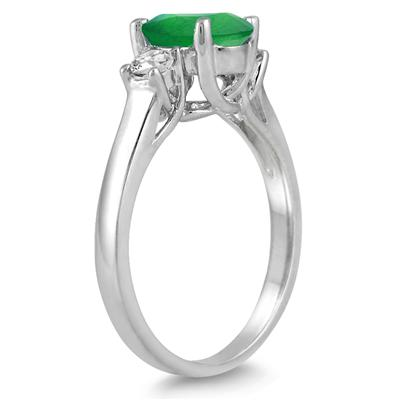 1.35 Carat Emerald and Diamond Three Stone Ring in 14K White Gold
