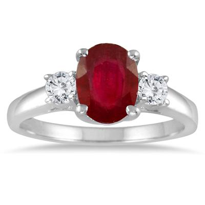 1.55 Carat Ruby and Diamond Three Stone Ring in 14K White Gold