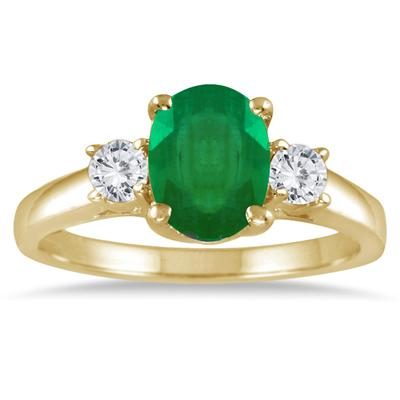 1.35 Carat Emerald and Diamond Three Stone Ring in 14K Yellow Gold