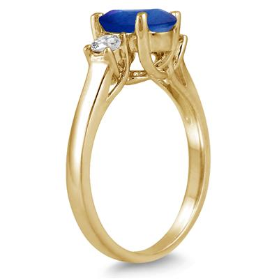 1.35 Carat Sapphire and Diamond Three Stone Ring in 14K Yellow Gold