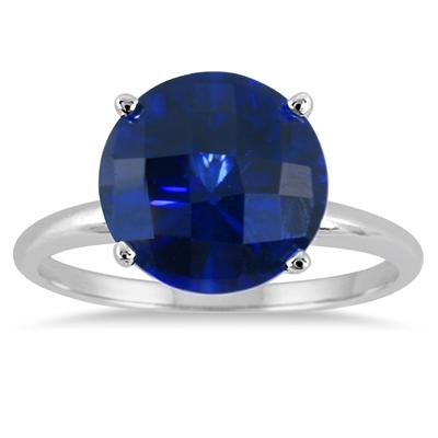 4.50 Carat Round Sapphire Solitaire Ring in 10K White Gold