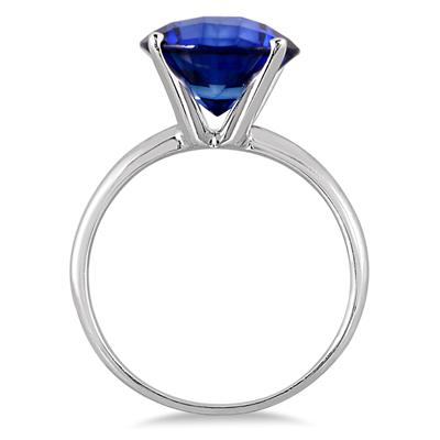 4 1/2 Carat Round Sapphire Solitaire Ring in 10K White Gold