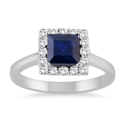 2 Carat Sapphire and Diamond Princess Halo Ring in 14K White Gold