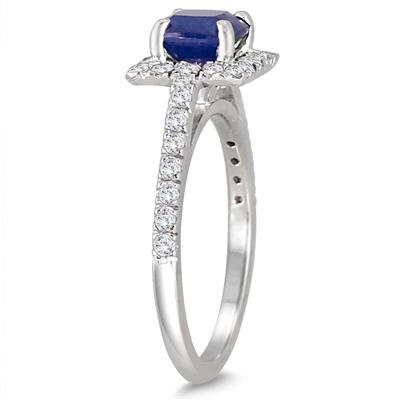 Cushion Cut Sapphire and Diamond Halo Ring in 14K White Gold