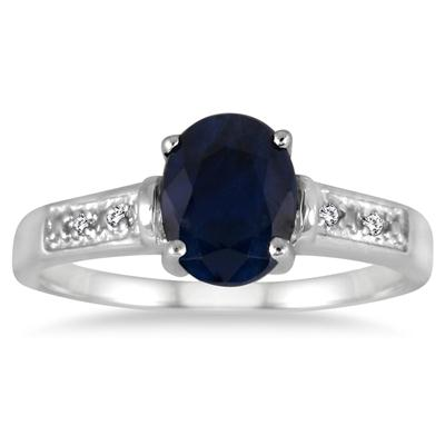1.75 Carat Sapphire and Diamond Ring in .925 Sterling Silver