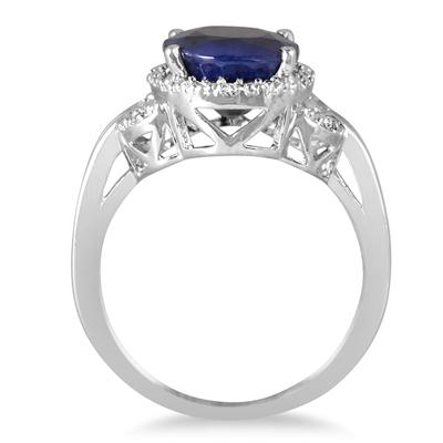 4.50 Carat Oval Shape Sapphire and Diamond Ring in .925 Sterling Silver