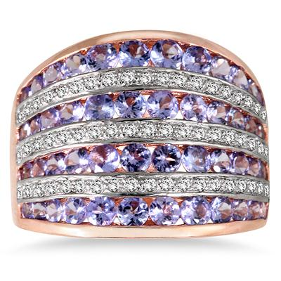 3 Carat Tanzanite and White Topaz Coctail Ring in 18K Rose Gold Plated Sterling Silver