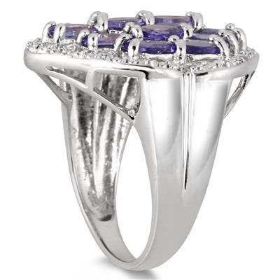 3.50 Carat Tanzanite Estate Ring in .925 Sterling Silver