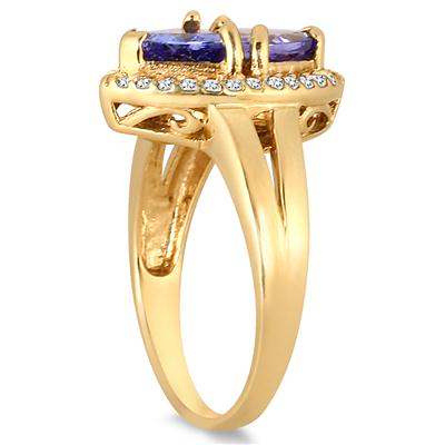 2.40 Carat Trillion Tanzanite and Topaz Ring in 18K Gold Plated Sterling Silver