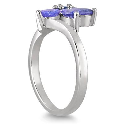 1.75 Carat Tanzanite and Sapphire Flower Ring in .925 Sterling Silver