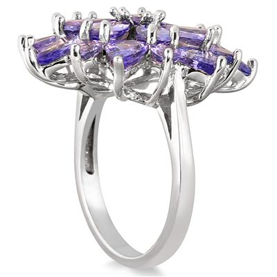 8 Carat All Natural Tanzanite Flower Ring in .925 Sterling Silver