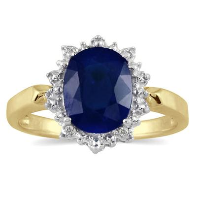 2.50 Carat Sapphire and Diamond Royal Ring in 18K Yellow Gold Plated Sterling Silver