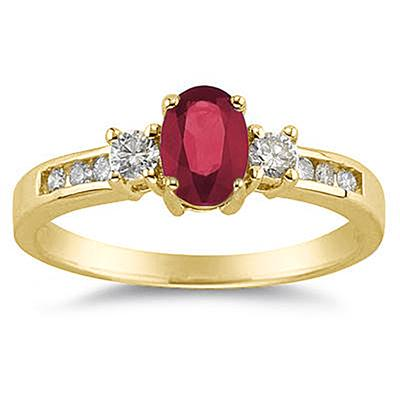 Ruby and Diamond Regal Channel Ring in 14K Yellow Gold
