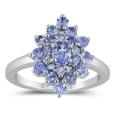Tanzanite Starburst Ring in .925 Sterling Silver