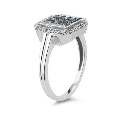 Blue And White Diamond Ring 10k White Gold