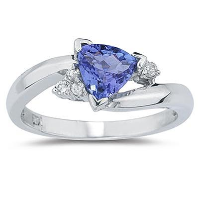 3/4 Carat Trillion Cut Tanzanite and Diamond Ring in 14K White Gold