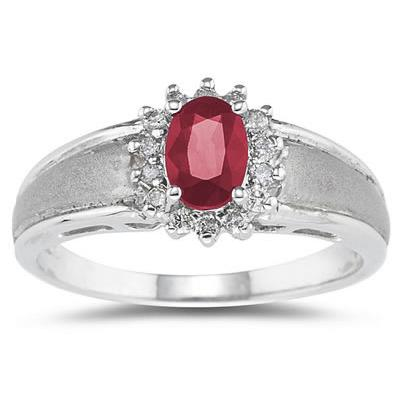 Ruby  and Diamond Flower Ring 10k White Gold