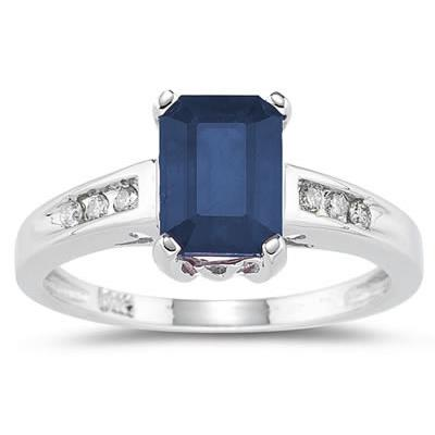 Sapphire  and Diamond Ring in 14k white Gold