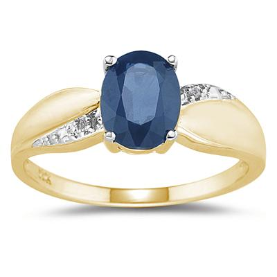 Sapphire and Diamond  Ring 10K yellow Gold