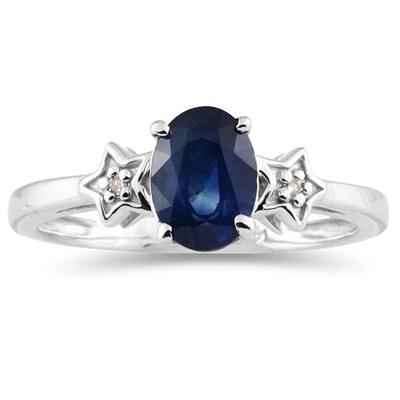 Sapphire and Diamond Ring 10K White Gold