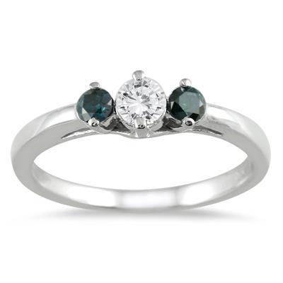 1/2 Carat Blue and White Diamond Three Stone Ring in 10K White Gold