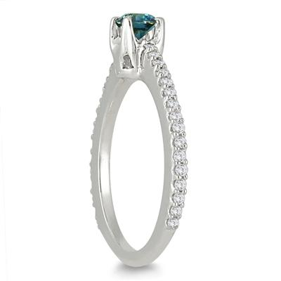 1/2 Carat Blue and White Diamond Ring in 190K White Gold