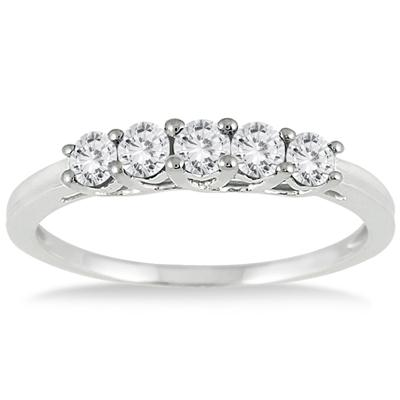 1/4 Carat Diamond 5 Stone Ring in 10K White Gold
